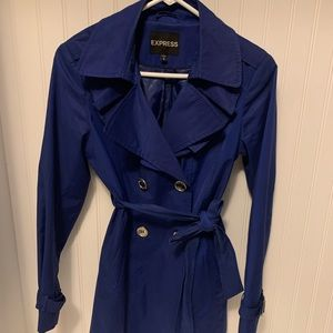 Blue belted and button down trench coat